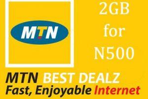 mtn 2gb data plna for 500 naira