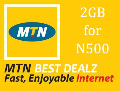 mtn 2gb data plna for 500 naira
